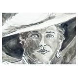 Dutch Ink on Paper Portrait Woman Signed Mata Hari