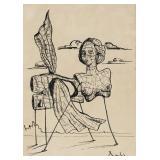Spanish Surrealist Ink on Paper Signed Dali
