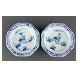 Pair of Ming Style Blue & White Porcelain Plates