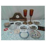 COLLECTORS PLATES, COASTERS, CLOCK, BRASS AND