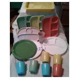 RETRO PLASTIC PLATES, CUPS, ETC