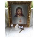 "21"" X 25"" JESUS PICTURE, MUSICAL PRAYING HANDS,"