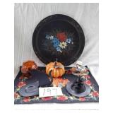 "PAINTED WOOD PLATE 14"" w, FALL DECOR"