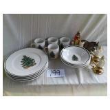 CHRISTMAS PLATES, BOWLS AND MUGS, CANDLE SALT N