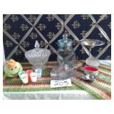 2 BEADED PLACEMATS, CANDY JARS,  SILVER PLATED
