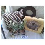 HOME DECOR - NEW TENSION ROD, FLOWERS, PILLOW,