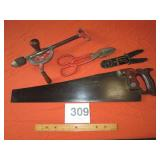 KEEN KUTTER SAW, HAND DRILL, SNIPS, WIRE STRIPPER
