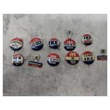 Political pins Ike, Nixon & Kennedy