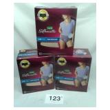 S/M DEPEND BRIEFS, 2 NEW BOXES OF 12, 1 BOX OF 10