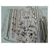 BAG OF COSTUME JEWELRY - SOME MISSING STONES OR