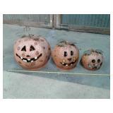 3-piece metal pumpkin set
