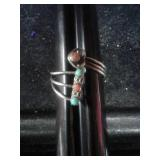 ADJUSTABLE STERLING SILVER &TURQUOISE RING
