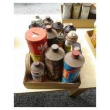 ADVERTISING METAL CANS, BRAKE FLUID, LUBES,