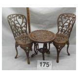 """13"""" CAST IRON TABLE AND 2 CHAIRS"""