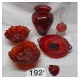 6 PC RED GLASSWARE