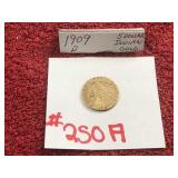 1909 5 DOLLAR INDIAN GOLD COIN