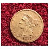 1879 5 DOLLAR GOLD LIBERY US COIN