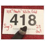 10K HEART DESIGN WHITE GOLD RING