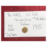 PRE WWI US GOLD 2 1/2 DOLLAR 1915 INDIAN