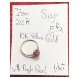 10K YELLOW GOLD PURPLE PEARL RING