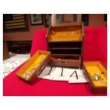 WOOD JEWELRY BOX W/COSTUME JEWELRY