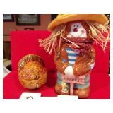 SCARECROW COOKIE JAR W/BOX & TURKEY