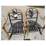 2 PATIO CHAIRS W/FLORAL BACK