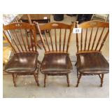 3 WOOD CHAIRS W/CUSHION SEATS