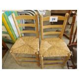 2 RATTAN BOTTOM CHAIRS