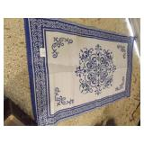 BLUE & WHITE OUTDOOR RUG 5 X 7