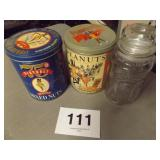 3 PC MR PEANUT JAR & TINS