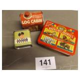 3 TINS, LOG CABIN, FOSSIL, ANIMAL CRACKERS
