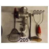 VINTAGE  KITCHEN UTENSILS & MEAT GRINDER