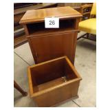CABINET W/SHELF & WOOD WASTE BASKET