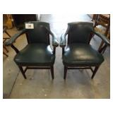 2 GREEN ARMED CHAIRS
