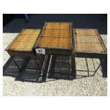 3 METAL & WICKER MATCHING TABLES