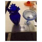 BLUE VASE & CANDY DISH