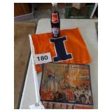U OF I BOTTLE, FLAG, & 2009 CHIEF ILLINIWEEK