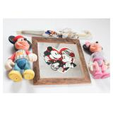 Group of Mickey Mouse Dolls, Umbrella & More
