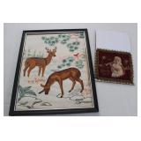 Crewel Embroidery Deer, and 1943 Souvenir