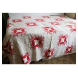 Red and Pink Vintage Machine Stitched Quilt