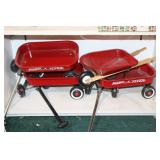 3Small  Radio Flyer Red Wagons & 1 Wheel Barrow