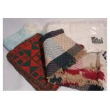 Group of Throws and Tea Towels and More.