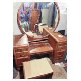 Antique Dresser with Vanity Bench