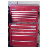 Red Metal Home Tool Storage Cabinet and Tools