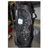 Nike Golf Bag W/ Clubs, 9 Irons, 3 Woods, 1
