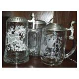 Etched Glass Steins