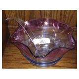 Glass Punch Bowl And Dish
