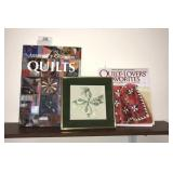 Quilting Books And Framed Piece