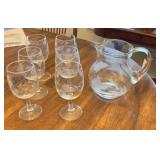 Matching Etched Glass Pitcher And Stemware